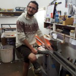 Johan cutting frames. (Hopefully not his fingers!!)
