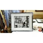 Hugo de Villiers' lino print in a box frame.