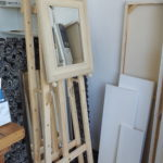 Easels, mirrors and canvas